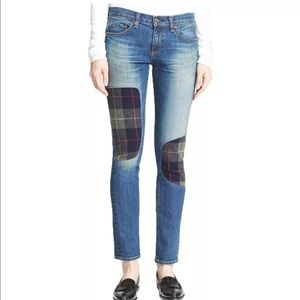 Rag & Bone plaid patch skinny jeans